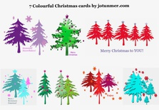 Pack of 7 colourful Christmas cards (pack 1)