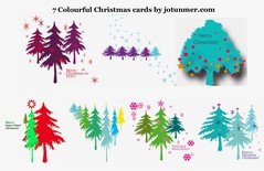 Pack of 7 colourful Christmas cards